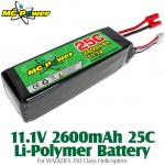 MG Power (MG-111-25-2600-WK) 11.1V 2600mAh 25C Li-Polymer Battery for WALKERA 450 Class Helicopters