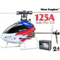 Nine Eagles (NE-R/C-125A-SOLO-PRO-RW-CASE) SOLO PRO 125 6CH Flybarless Micro Helicopter with J6 PRO Transmitter and Aluminum Carrying Case RTF (Red-White) - 2.4GHz