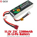 ACE (ACE-111-25-2200-T) 11.1V 25C 2200mAh 3S Li-Po Battery with Deans Style T-Plug for 450 Class Helicopter