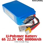 BatteryHobby (BA-222-40-8000-XT60-F) Li-Polymer Battery 6S 22.2V 40C 8000mAh - XT60 Female Plug