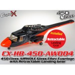 CopterX (CX-HB-450-AW004) 450 Class AIRWOLF Glass Fiber Fuselage with Retractable Landing Gear (Black Red)