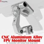 DragonSky (DS-FPV-MM-V-S) CNC Aluminium Alloy FPV Monitor Mount for Transmitter with Vertical Neck Strap Eyelet (Silver)