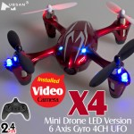 Hubsan (HS-H107C-RS-M2) X4 Mini Drone LED Version 6 Axis Gyro 4CH UFO with Video Camera and Rotor Blades Protection Cover RTF (Red Silver, Mode2) - 2.4GHz