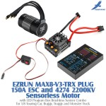 Hobbywing EZRUN MAX8-V3-TRX PLUG 150A Water-proof Brushless ESC with T Plug and 4274 2200KV Sensorless Motor with LED Program Box Brushless System Combo for 1/8 Touring Car, Buggy, Truggy and Monster Truck
