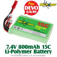MG Power (MG-74-15-800) 7.4V 15C 800mAh Li-PO Battery for WALKERA DEVO 6, 8, 8S Transmitter with Balance Plug