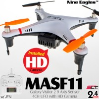 Nine Eagles (NE-MASF11-BW) Galaxy Visitor 2 9 Axis Gyro 4CH UFO with HD Camera and JFN SLT Transmitter RTF (Black White) - 2.4GHz