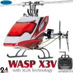 Skyartec (HWX3V-03) WASP X3V Flybarless 3G3X Flight-Stabilization System Metal Upgrade 6CH Brushless Helicopter RTF - 2.4GHz - without battery