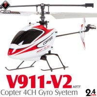 WLTOYS (WL-V911-V2-R-KIT) Copter V2 4CH Helicopter with Gyropes System KIT (TX not included) ARTF (Red/White) - 2.4GHz