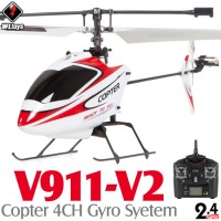 WLTOYS (WL-V911-V2-R-M2) Copter V2 4CH Helicopter with Gyropes System RTF (Red/White, Mode2) - 2.4GHz